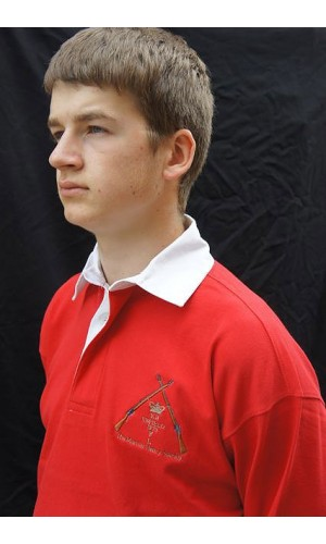The Martini Henry Society Embroidered Rugby Shirt Infantry Scarlet